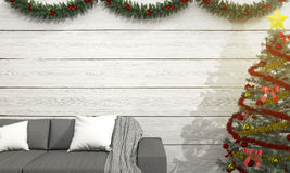 3d het teruggeven bank dichtbij Kerstmisboom met decoratie en zonglans Stock Fotografie