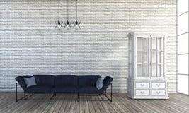 3d het teruggeven bank van de zolderstijl in witte bakstenen muurruimte Stock Foto's
