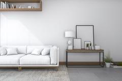 3d het teruggeven bank in witte woonkamer met mooi decor Stock Afbeeldingen