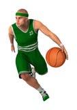 3D het Teruggeven Basketbalspeler op Wit Royalty-vrije Stock Afbeeldingen