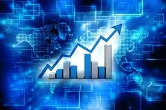 3d het teruggeven bedrijfsgrafiek en documenten, het Concept van het Effectenbeurssucces Stock Afbeeldingen