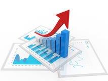 3d het teruggeven bedrijfsgrafiek en documenten, het Concept van het Effectenbeurssucces Stock Afbeelding