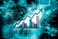 3d het teruggeven bedrijfsgrafiek en documenten, het Concept van het Effectenbeurssucces Stock Fotografie