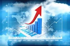 3d het teruggeven bedrijfsgrafiek en documenten, het Concept van het Effectenbeurssucces Royalty-vrije Stock Fotografie
