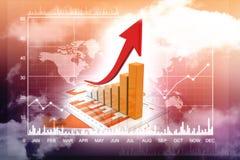 3d het teruggeven bedrijfsgrafiek en documenten, het Concept van het Effectenbeurssucces Stock Foto