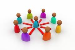 3d het teruggeven bedrijfsmensenpictogram in een netwerk Stock Afbeelding
