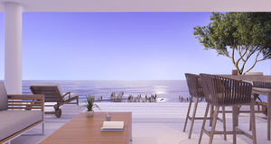 3d het teruggeven binnenlandse villa dichtbij overzees in schemeringscène Royalty-vrije Stock Afbeelding