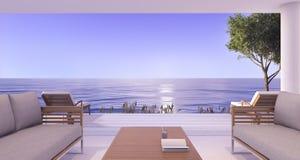 3d het teruggeven binnenlandse villa dichtbij overzees in schemeringscène met romantische toon Stock Foto's