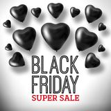 3D het Teruggeven Black Friday Harten van de Verkoopballon Royalty-vrije Stock Afbeelding