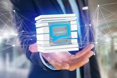 3D het teruggeven Blauw die E-mail symbool in een gesneden kubus wordt getoond Stock Foto's