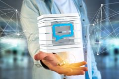3D het teruggeven Blauw die E-mail symbool in een gesneden kubus wordt getoond Royalty-vrije Stock Foto's