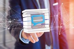 3D het teruggeven Blauw die E-mail symbool in een gesneden kubus wordt getoond Royalty-vrije Stock Foto