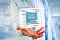 3D het teruggeven Blauw die E-mail symbool in een gesneden kubus wordt getoond Royalty-vrije Stock Afbeelding