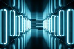 3D het teruggeven blauw-tint Verlichte gang met blauw neonlicht Elegant futuristisch neonlicht op muur Stock Afbeeldingen