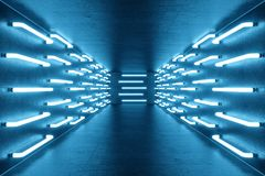 3D het teruggeven blauw-tint Verlichte gang met blauw neonlicht Elegant futuristisch neonlicht op muur Stock Fotografie