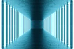 3D het teruggeven blauw-tint Verlichte gang met blauw neonlicht Elegant futuristisch neonlicht op muur Stock Afbeelding