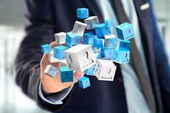 3d het teruggeven blauwe en witte kubus op een futuristische interface Royalty-vrije Stock Foto's