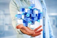 3d het teruggeven blauwe en witte kubus op een futuristische interface Royalty-vrije Stock Foto