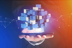 3d het teruggeven blauwe en witte kubus op een futuristische interface Stock Afbeelding