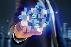 3d het teruggeven blauwe en witte kubus op een futuristische interface Royalty-vrije Stock Afbeelding