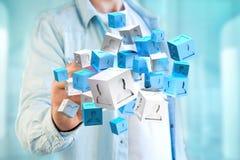 3d het teruggeven blauwe en witte kubus op een futuristische interface Stock Foto