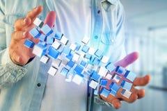 3d het teruggeven blauwe en witte kubus op een futuristische interface Stock Fotografie