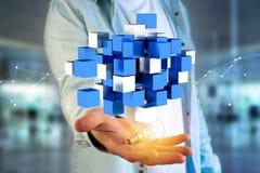 3d het teruggeven blauwe en witte kubus op een futuristische interface Stock Afbeeldingen