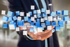 3d het teruggeven blauwe en witte kubus op een futuristische interface Royalty-vrije Stock Fotografie