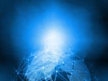 3D het Teruggeven blauwe gestippelde wereld en de samenvatting telegrafeerden globale netwerkachtergrond Voor telecommunicatie, m stock foto