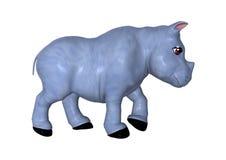 3D het Teruggeven Blauwe Rinoceros op Wit Stock Afbeeldingen