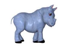 3D het Teruggeven Blauwe Rinoceros op Wit Royalty-vrije Stock Fotografie