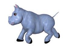 3D het Teruggeven Blauwe Rinoceros op Wit Stock Foto's