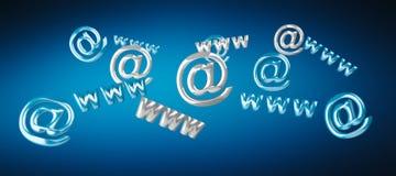 3D het teruggeven contactpictogram www en bij het vliegen Stock Foto