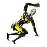 3D het Teruggeven Dansende Robot op Wit Stock Afbeelding