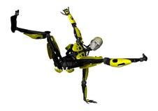 3D het Teruggeven Dansende Robot op Wit Stock Fotografie