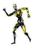 3D het Teruggeven Dansende Robot op Wit Stock Foto