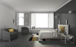 3d het teruggeven donkere toonslaapkamer met zacht en aardig meubilair Royalty-vrije Stock Foto's