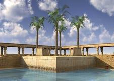 3D het Teruggeven Egyptisch Paleis Royalty-vrije Stock Foto
