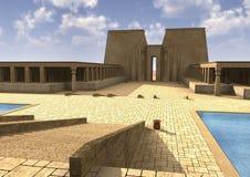 3D het Teruggeven Egyptisch Paleis Stock Afbeeldingen
