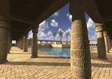 3D het Teruggeven Egyptisch Paleis royalty-vrije stock afbeeldingen