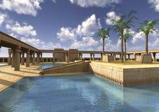 3D het Teruggeven Egyptisch Paleis Royalty-vrije Stock Afbeelding