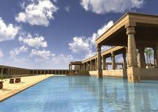 3D het Teruggeven Egyptisch Paleis Stock Fotografie