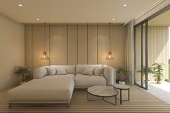 3d het teruggeven eigentijdse woonkamer met bank dichtbij terras Royalty-vrije Stock Fotografie