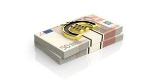 3d het teruggeven euro symbool op 50 euro bankbiljettenstapels Royalty-vrije Stock Afbeelding