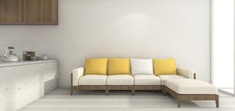 3d het teruggeven gele bank in minimale witte keuken en eetkamer Stock Fotografie