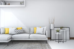3d het teruggeven gele bank in witte woonkamer met mooi decor Royalty-vrije Stock Afbeeldingen