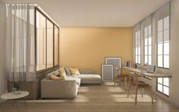 3d het teruggeven gele moderne woonkamer met daglicht van venster Stock Afbeeldingen