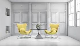 3d het teruggeven gele ontwerpstoel in witte klassieke woonkamer Stock Afbeelding