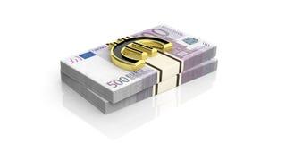 3d het teruggeven gouden euro symbool op euro bankbiljettenstapels Stock Afbeeldingen