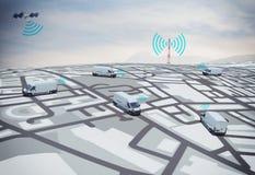 3D het Teruggeven GPS route Stock Foto